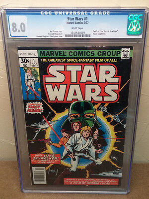 1st Issue Star Wars comic #1 1977 CGC graded 8.0 WHITE PAGES First Print - #1019