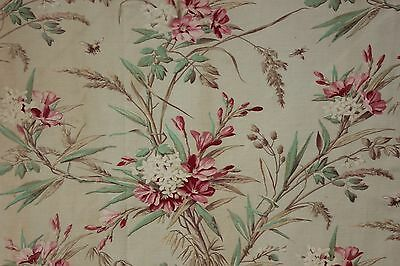 Antique Floral + Insect c 1900 curtain panel / fabric twill weave TIMEWORN