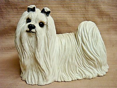 1987 Rare & Large MALTESE w/Glass Eyes by SANDRA BRUE for SANDICAST of SAN DIEGO