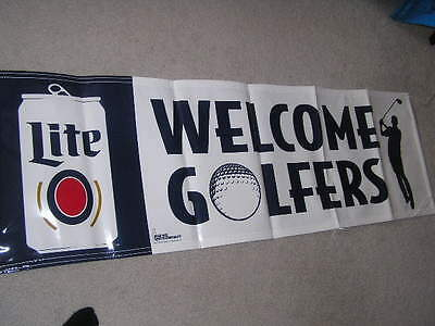 New - New!! Nice Miller Lite Light Welcome Golfers Golf Beer Banner Sign
