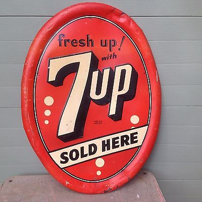 """Vintage Original """"FRESH UP"""" With 7 UP Sold Here Embossed Metal Sign"""