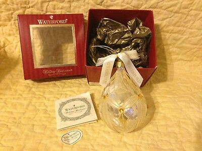 Waterford Lismore Optic Gold Teardrop Christmas Ornament Holiday Heirloom RARE