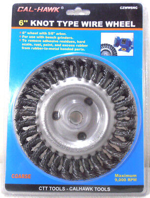 """6"""" INCH KNOT WIRE WHEEL x 5/8""""  ARBOR COARSE KNOTTED WIRE WHEEL"""