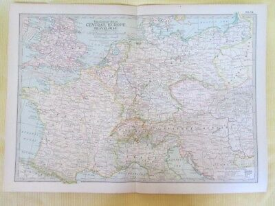 Vintage Map,CENTRAL EUROPE,TRAVEL MAP,74,Century Atlas,1902
