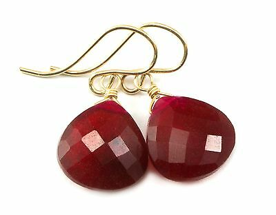Red Ruby Earrings 14k gold filled Faceted Heart Corundum Simple Heart Drops