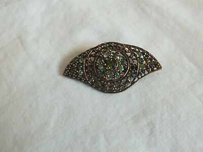 "Beautiful Brooch Pin Gold Tone Filigree Lime Green Rhinestones 1 7/8 x 1"" WOW"
