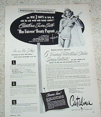 1952 ad page - Miss Universe Beauty Pageant & Catalina Swimwear vintage advert