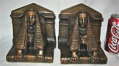 Antique Usa Bronze Clad Egyptian Revival Art Deco Lady Sphinx Sculpture Bookends