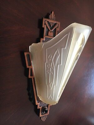 Markel Art Deco Antique Wall Sconce Amber Glass Slip Shade Original Condition