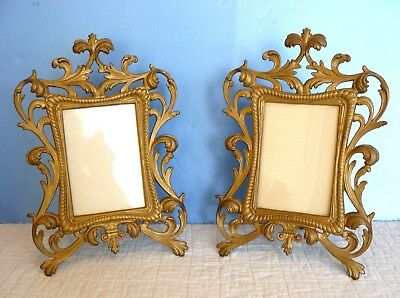 "Set of 2 ANTIQUE 12"" ORNATE ROCOCO CAST IRON 4"" x 6"" PHOTO FRAME EASEL BACK"