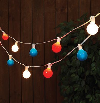 Patriotic RED WHITE & BLUE G50 Patio Light Strand 9FT  Americana 4th of July