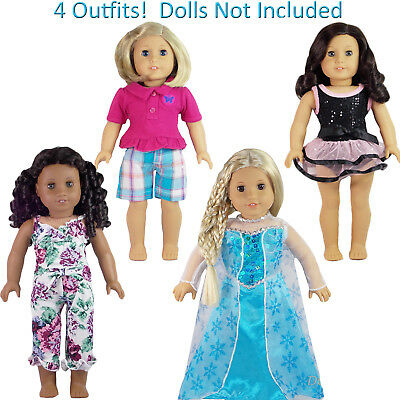 """AFW SET 4 Piece Lot Outfits for 18"""" American Girl Doll Clothes Pajamas Elsa NEW"""