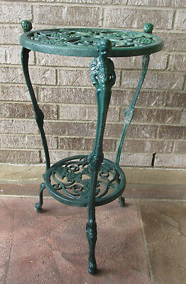 Antique Victorian Cast Iron Plant Stand Grapes Vines Girl Figural Lions Head Paw