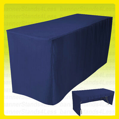 6' Fitted Tablecloth Table Cover Trade Show Event Open Back - 3 SIDED NAVY BLUE
