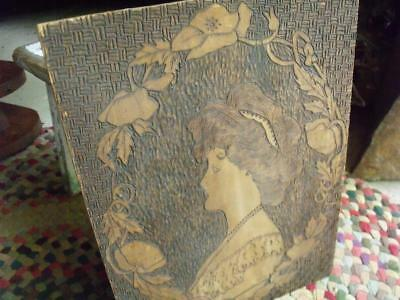 Antique Early 1900s Arts & Crafts Era Hand Made Wood Wall Plaque Woman's Profile