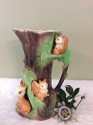 Extra large Withernsea Pottery Fauna Vase With Rabbit, Squirrel & Fawn Number 96