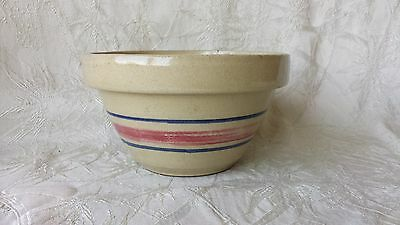 Vintage Robinson Ransbottom R.R.P Pottery Company Red Blue Banded 2 Qt Bowl