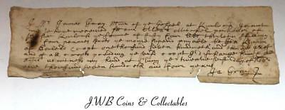 "Small Antique Scottish Document Dated 1703 - ""James Gray"" ""Croft"""
