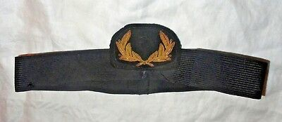 Vintage Navy? Military Hat Band Gold Wreath WWII? From Old Estate