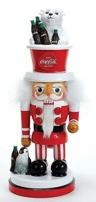 Hollywood Coca Cola Happy Holidays Santa Wooden 15 Inch Christmas Nutcracker