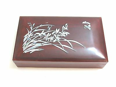 Vintage Chinese Lacquer Ware Cigarette Box With Ashtray ~ Mother Of Pearl Inlay