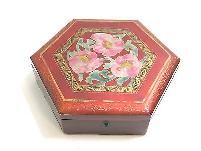 Vintage Or Antique Chinese Lacquerware Hexagon Shaped Hinged Box Flower Design