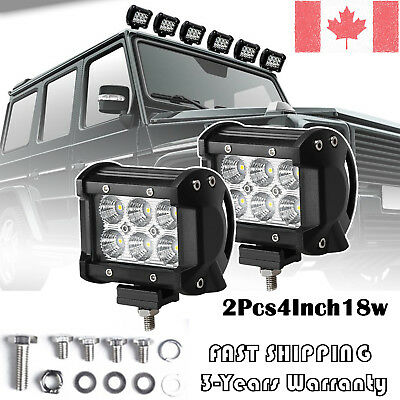 Pair 4inch 18W CREE Flood LED Light Bar Offroad 4WD ATV SUV Fog Driving Lamp