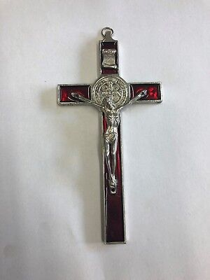 San Benito red Crucifix Saint St Benedict Jesus Cross Large Pendant