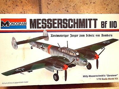 Vintage Monogram 1/72 Scale Model Kit MESSERSCHMITT Bf 110 Airplane 1973
