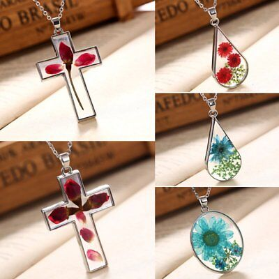 Natural Real Dried Rose Flower Glass Cross Drop Pendant Necklace Women Jewelry