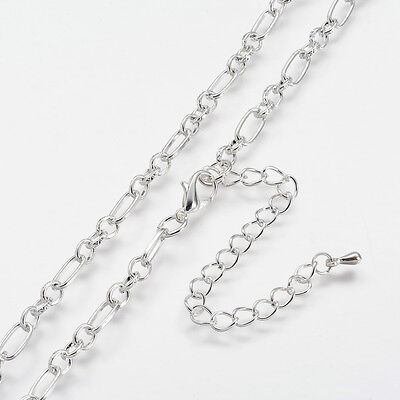 1Strand Silver Iron Figaro Chain with Alloy Lobster Claw Clasps & End Chains DIY