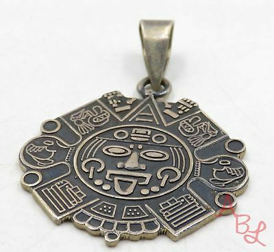 Sterling Silver Vintage 925 Heavy Mayan Etched Pendant (15.6g) - 707752