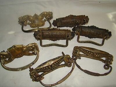 lot of 7 Antique vintage Ornate Brass drawer pull Hardware
