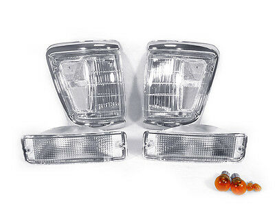 4PCS DEPO Clear Corner Lights + Bumper Lights For 92-95 Toyota Pickup Truck 4WD