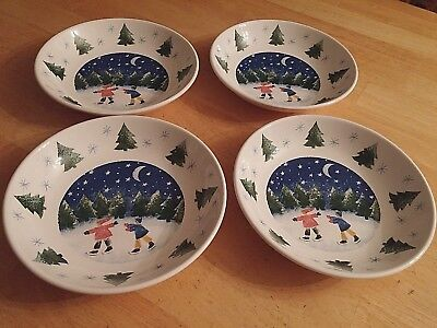 "Nikko ""winter Wonderland"" Set Of 4 Pasta/salad Bowls-Never Used-8.5""-1998 Japan"