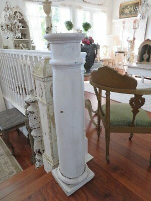 THE BEST OLD ARCHITECTURAL WOOD POST COLUMN PEDESTAL Chippy WHITE PAINT 3 1/2'