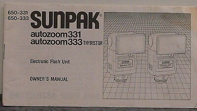 Sunpak Autozoom 331 /Thyristor Electronic Flash Unit Instruction Manual