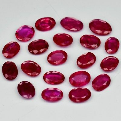 20pcs Lot 11.97ct t.w Oval Natural Red Ruby, Mozambique *Only Heated No Glass