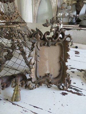 EXQUISITE Old Vintage French PICTURE FRAME Incredibly ORNATE Gilt Metal w Easel