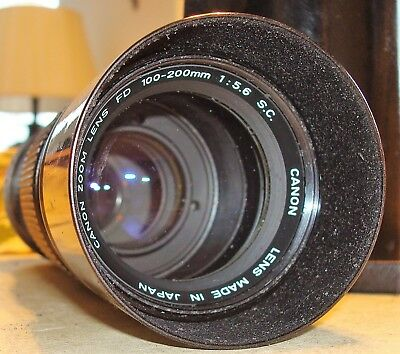 Canon FD 100-200mm 1:5.6 S.C Lens/Caps/Case~Very Fine Working