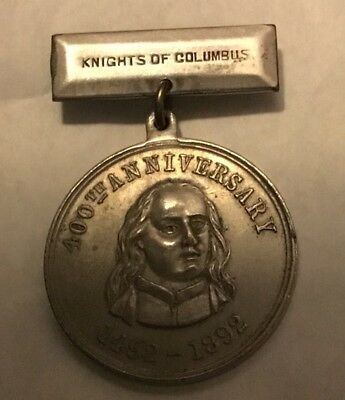 Rare 1492-1892 Knights Of Columbus K of C New Haven Ct. 400 Anniversary Medal NR