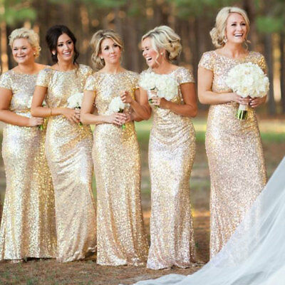 Womens Ball Gown Prom Party Dress Ladies Sequin Bridesmaid Long Dress Size S M L