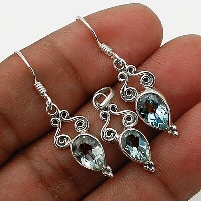 3CT Aquamarine 925 Solid Sterling Silver Earrings Pendant Set Jewelry