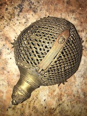 VERY RARE ONE OF A KIND Antique Brass Handmade Turtle Incense Burner