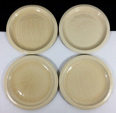 4 Franciscan Sea Sculptures DINNER Plates SAND 2 CONCH 1 Nautilus 1 URCHIN Set