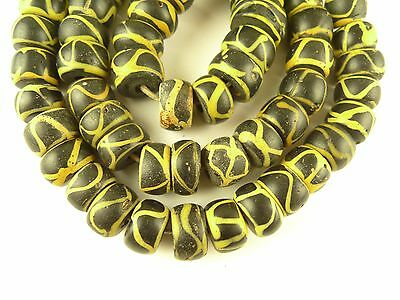 """21"""" strand yellow black trailed tribal trade beads Venetian old African AC-0061"""