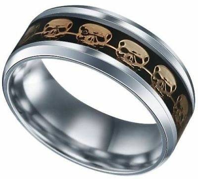 Sz 6-9 GOLD SKULLS In EBONY BLACK On Silver TITANIUM Steel Band Ring USA SELLER