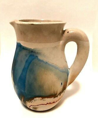 Nemadji Pottery Pitcher USA Blue Orange Swirl Design 5.25 inches Tall Stamped
