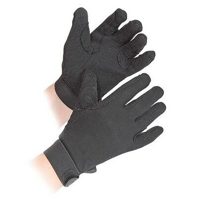 SHIRES NEWBURY GLOVES ADULTS BLACK 880 horse rider grip GLOVES cotton XS - XL