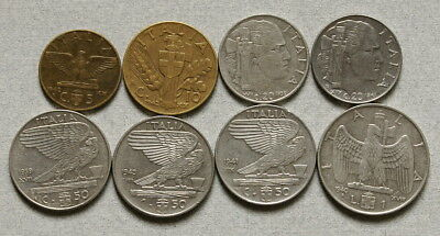 Fascist ITALY 1939-1942 - Mixed Lot of 8 WWII Era Coins, No Reserve!